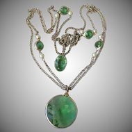 MOD 1960's Vintage Open Back Green Rivoli Crystal with Faux Pearls Multi Chain Necklace & Earrings Set
