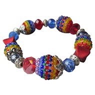 """My Secret Garden"" Lampwork Art Glass Bead Artisan Stretch Bracelet, ""Harlequin"" #B2"