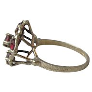 Vintage 1970's Sterling Silver Vermeil GARNET Modern Basket Design Ring, Size 7