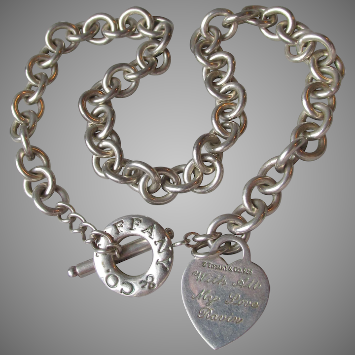 3b74af496 Vintage Authentic Tiffany & Co ~ Sterling Silver Heart Tag Charm Toggle  Necklace - Engraved
