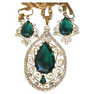 Juliana D&E Emerald Green Rhinestone Wire Work Scroll Filigree Necklace & Earrings Set