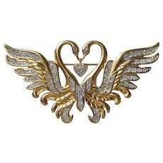 Valentine's Day Nolan Miller Two Swans Dangle HEART Rhinestone Vintage Pin