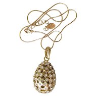 Vintage Signed Kirks Folly Modernist Hollow Rhinestone EGG Pendant Necklace