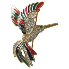 Gorgeous Colorful Enamel & Rhinestone Vintage HUMMINGBIRD Pin