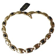 NWT! 1990's Vintage MONET Black Cabochon Gold Tone Link Choker Necklace