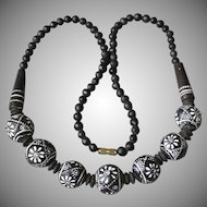 Exquisite Hand Carved & Painted EBONY Wood Bead 1950's Vintage Necklace