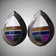 Native American Inlaid Multi Gemstone Vintage Sterling Silver Teardrop Pierced Earrings