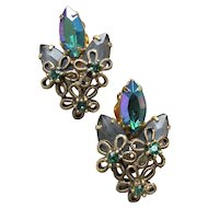 Pretty AB Emerald Green Marquise Rhinestone & Flower WIRE Vintage Earrings
