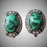 Vintage Russian Etalon Janavi Malachite & Swarovski Crystal 900 Silver Lever Back Pierced Earrings