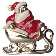 Vintage Christmas Enamel & Rhinestone Santa in Sleigh Pin