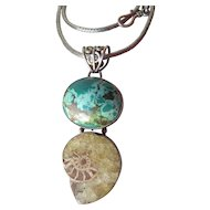 "Magnificent HUGE Tibetan Turquoise, Ammonite Fossil Sterling Silver Pendant Necklace on 18"" Wheat Chain"