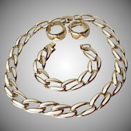 Vintage Ivory Enamel Gold Tone Heavy Link Necklace, Bracelet, Hoop Earrings Set, 1990's Parure