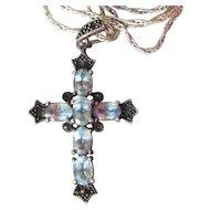 Pretty Black Sterling Silver & Blue Topaz Cross Pendant Vintage Necklace