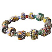 Artisan Antique African Trade Venetian Art Glass Bead & Swarovski Multi-Colored Crystal Stretch Bracelet #4