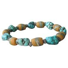 Antique African Trade Ceramic Bead & Turquoise Nugget Artisan Stretch Bracelet