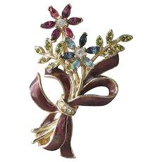 Pretty Vintage Monet Rhinestone & Enamel Flower Bouquet Pin