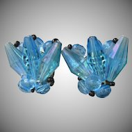 Unusual Vintage 1950's Germany Blue Aurora Borealis Lucite Earrings