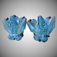 Unusual Vintage 1950's Germany Blue Aurora Borealis Lucite Earrings