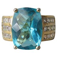 Big Vintage Faux London Blue Topaz & Rhinestone Sterling Silver Vermeil Ring, Size 6.75