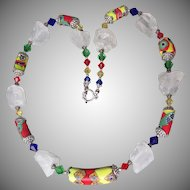 "Artisan Antique African Trade Venetian Art Glass Bead, Swarovski Multi-Colored & Rock Crystal Quartz Nugget ""Harlequin"" Necklace"