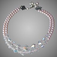 Pretty 1950's Vintage Two-Strand Faux PINK Pearl & Crystal Bead Necklace