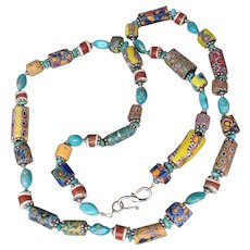Artisan Necklace of Venetian Art Glass Millefiori Antique African Trade Beads & Turquoise Nuggets