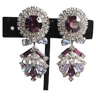 Magnificent Vintage Signed HOBE Dangle Amethyst Rhinestone Earrings