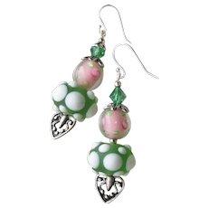 "Valentine's Day Artisan Lampwork Art Glass & Swarovski Crystal Sterling Silver Earrings, ""Hearts 'n Roses"" #108"