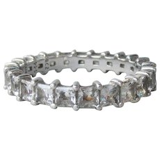 Sterling Silver & Cubic Zirconia Vintage Eternity Band Ring, Size 10