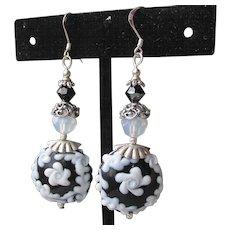 """""""My Secret Garden"""" Artisan Lampwork Art Glass & Swarovski Crystal Sterling Silver Earrings, """"Tuxedo Bouquet"""" #110"""