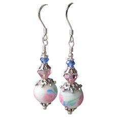 """""""My Secret Garden"""" Artisan Lampwork Art Glass & Swarovski Crystal Sterling Silver Earrings, """"Watercolor Blush"""" #111"""