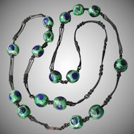 Gorgeous!  Antique Victorian PEACOCK EYE Foiled Glass Bead Macrame Necklace
