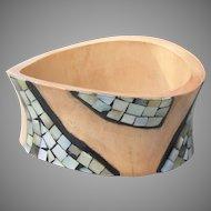 Amorphous Modernist Inlaid Paua Shell Abalone Bamboo Wood Vintage Bangle Bracelet, Signed
