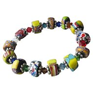 Artisan Antique African Trade Venetian Art Glass Bead & Swarovski Multi-Colored Crystal Stretch Bracelet #7