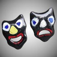 Vintage Modernist 1950's Enamel on Copper Black Comedy Tragedy Theater Mask Pins