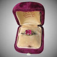 Antique Edwardian 14k White Gold Filigree Created Ruby Ring