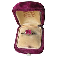 Antique Edwardian 14k White Gold Filigree Created Ruby Ring