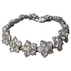 Signed BOGOFF 1950's Vintage Rhinestone Flower Bracelet
