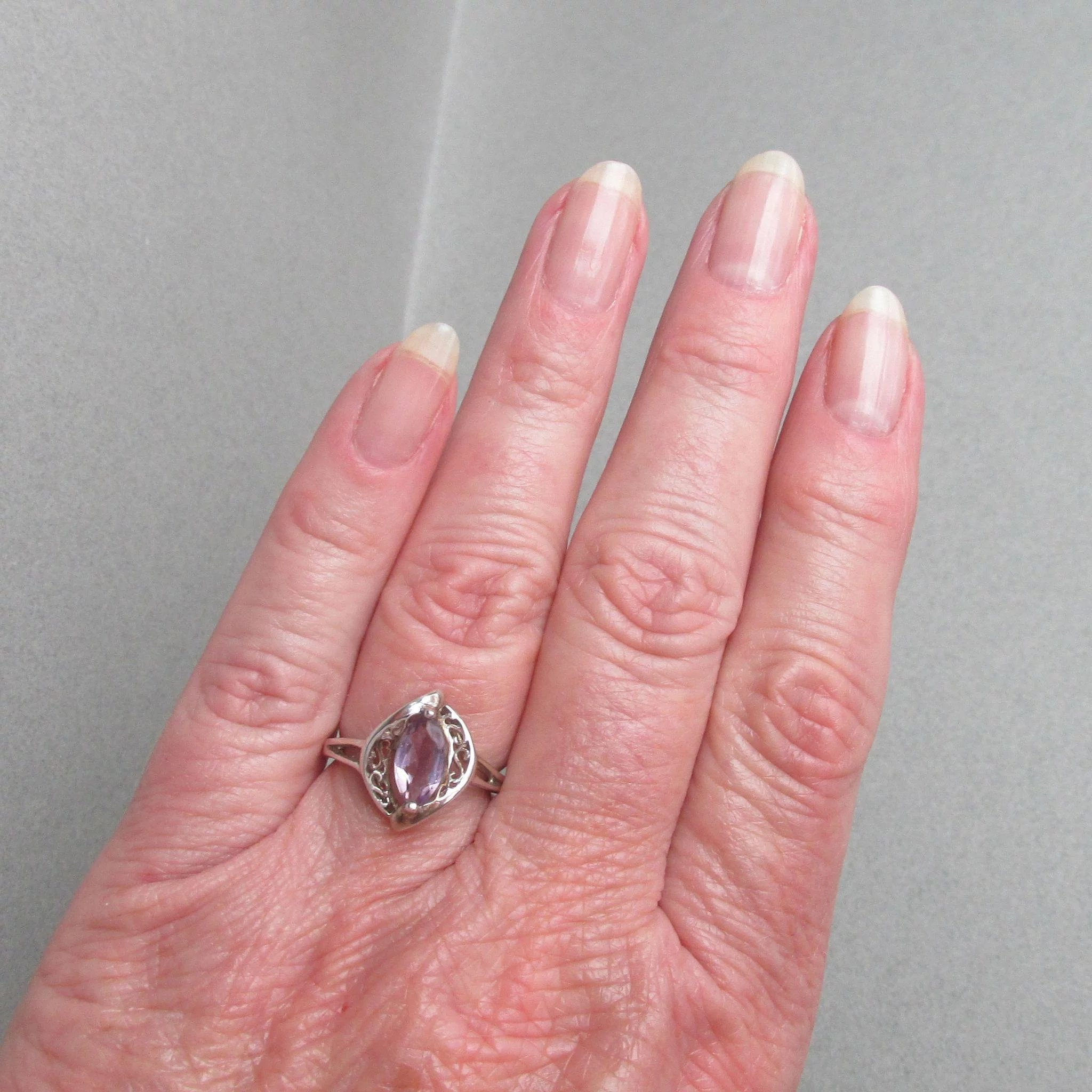 Vintage Avon Sterling Silver Filigree Marquis Amethyst Ring, Size 7 ...