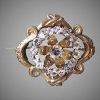 Antique Victorian Rhinestone Gold on Silver Filigree Vintage Pin