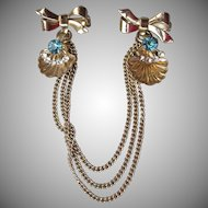 1940's Retro Aqua Rhinestone Nautical Shells & Bows Chatelaine Chain Pin