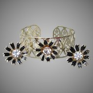 1950's Vintage Black Enamel & Rhinestone FLOWER Filigree Gold Tone Cuff Bracelet, Earrings Set
