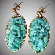 1970's Turquoise Chip Oval Dangle Pierced Gold Tone Earrings