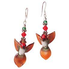 """My Secret Garden"" Lampwork Art Glass, Swarovski Crystal, Sterling Silver Leverback Dangle Artisan Earrings, ""Anna's Hummingbirds"" #136"