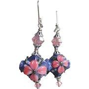 """My Secret Garden"" Lampwork Art Glass & Swarovski Crystal Artisan Sterling Silver Earrings, ""Lavender Fantasia"" #137"
