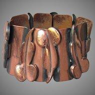 1950's Vintage Signed RENOIR Wide Modernist Copper Bracelet