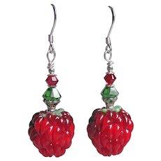 """My Secret Garden"" Lampwork Art Glass, Swarovski Crystal, Sterling Silver Dangle Artisan Earrings, ""Ripe Raspberries"" #142"