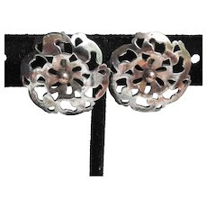 1940's Retro Sterling Silver Open Work Button Vintage Earrings