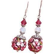 """""""My Secret Garden"""" Lampwork Art Glass, Swarovski Crystal, Sterling Silver Dangle Artisan Earrings, """"Raspberry Blossom"""" #145"""