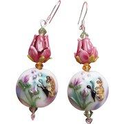 """My Secret Garden"" Artisan Lampwork Glass Bead & Swarovski Crystal Sterling Silver Dangle Earrings, ""Bugs 'n Roses"" #149"